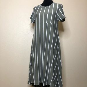 LulaRoe Carly Dress Green/White XSmall